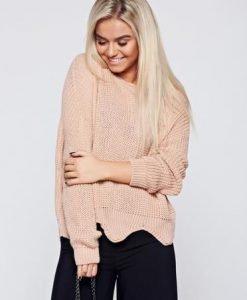 Pulover rosa casual tricotat cu tiv decupat - Pulovere -