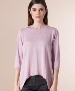 Pulover roze din tricot 1F-356-1 - Pulovere -