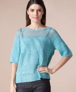 Pulover turquoise cu perforatii 4407 - Pulovere -