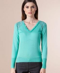 Pulover verde din tricot 1F-410 - Pulovere -