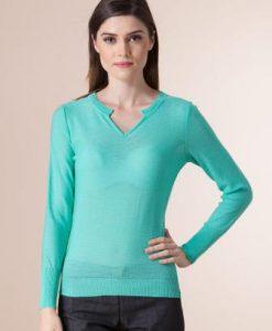Pulover verde din tricot 1F-427 - Pulovere -