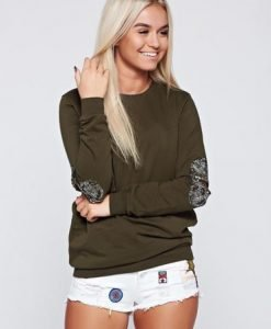 Pulover verde-inchis casual din bumbac cu tinte metalice - Pulovere -