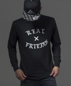 Real Friends Crewneck negru Mister Tee - Bluze cu mesaje - Mister Tee>Regular>Bluze cu mesaje
