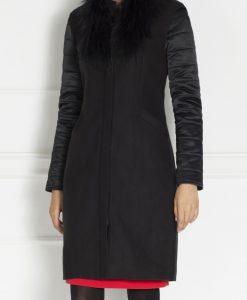 Redingota eleganta cu guler din blana naturala Negru - Imbracaminte - Imbracaminte / Paltoane