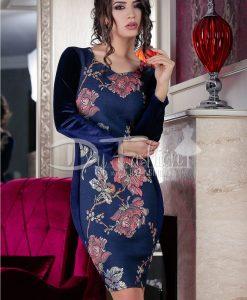 Rochie Dark Blue Velvet Flowers - ROCHII - Rochii de Ocazie