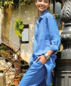 Rochie Sherie Blue din in - Costume de baie - Rochii si fuste