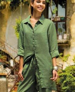 Rochie Sherie Green din colectia Iconique din in - Costume de baie - Rochii si fuste