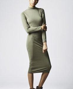 Rochie Turtleneck LS pentru Femei oliv Urban Classics - Rochii si fuste - Urban Classics>Femei>Rochii si fuste