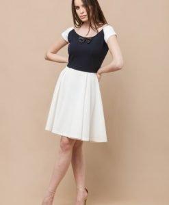 Rochie alb cu bleumarin in clos CF492-B - Rochii de zi -