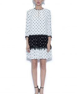 Rochie alb-negru cu buline Buline negre - Imbracaminte - Imbracaminte / Rochii de zi