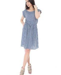 Rochie alba cu dungi albastre din vascoza DR3013 - Rochii de zi -