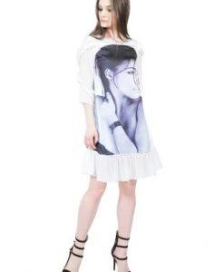Rochie alba cu imprimeu D2515 alb - Rochii de zi -