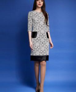 Rochie alba cu imprimeu baroc si buzunare SARA - Rochii de zi -