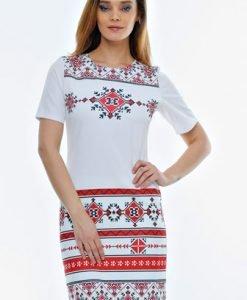 Rochie alba cu imprimeu etnic RO06 - Rochii de zi -