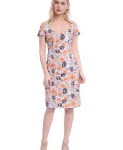Rochie alba cu imprimeu floral AM-21704110 - Rochii de zi -