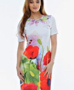 Rochie alba cu imprimeu floral RO07 - Rochii de zi -