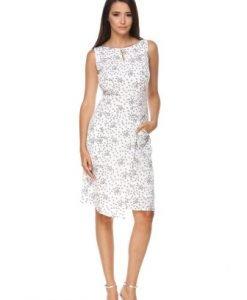 Rochie alba cu imprimeu floral din voal ANAT - Rochii de zi -