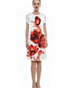 Rochie alba cu imprimeu floral rosu RO65 - Rochii de zi -