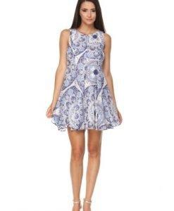 Rochie alba din bumbac cu imprimeu MIKA - Rochii de zi -