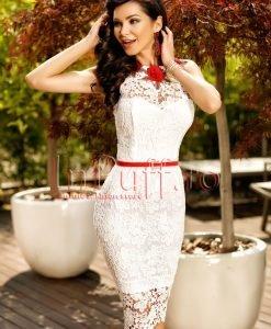 Rochie alba din dantela cu spatele decupat - ROCHII -