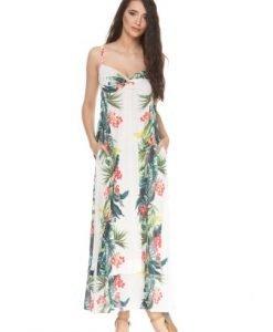 Rochie alba din jerse cu imprimeu floral PANAMA - Rochii de zi -