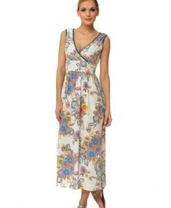 Rochie alba lunga cu imprimeu floral R2105 - Rochii de zi -