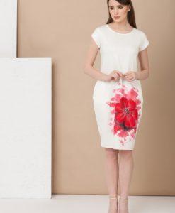 Rochie alba pictata manual RMK12 Mako Tailor - Rochii de zi -