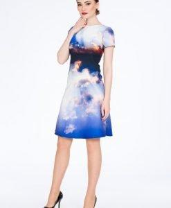 Rochie albastra cu imprimeu cer DS25-12 - Rochii de zi -