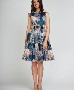Rochie albastra cu imprimeu floral roz LARA-AL - Rochii de seara -