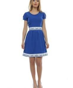 Rochie albastra cu insertie cu motive traditionale RO178 - Rochii de zi -