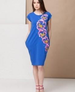 Rochie albastra din bumbac pictata manual RMK13 Mako Tailor - Rochii de zi -