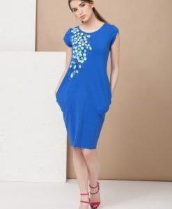 Rochie albastra din bumbac pictata manual RMK14 Mako Tailor - Rochii de zi -