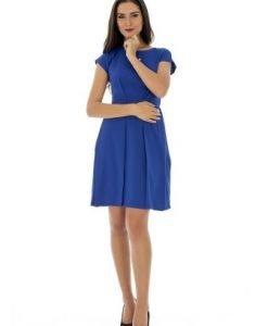Rochie albastra din jerse cu buzunare DR2063 - Rochii de zi -