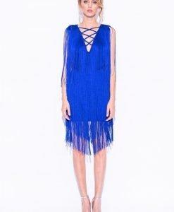 Rochie albastra mini cu franjuri Albastru - Imbracaminte - Imbracaminte / Rochii de seara