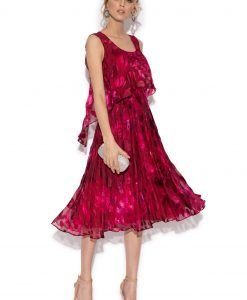Rochie ampla din vascoza si matase cu print abstract Imprimeu - Imbracaminte - Imbracaminte / Rochii de seara