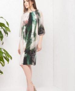 Rochie bej cu imprimeu abstract RO150 - Rochii de zi -