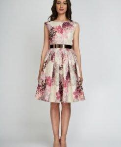 Rochie bej cu imprimeu floral roz LARA-RZ - Rochii de seara -