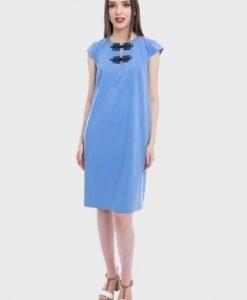 Rochie bleu cu buzunare MEDEEEA-B - Rochii de zi -