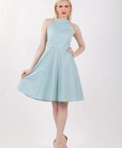 Rochie bleu cu imprimeu inimioare D2151 - Rochii de zi -