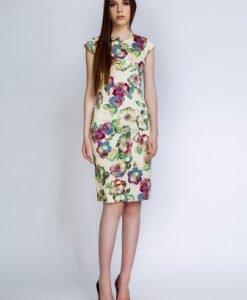 Rochie cambrata cu imprimeu floral RITA bej - Rochii de zi -