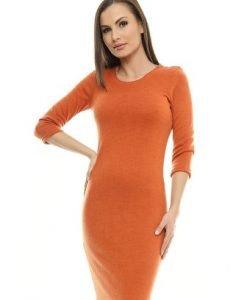 Rochie caramizie din tricot RO89 - Rochii de zi -