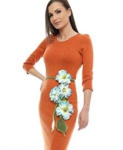 Rochie caramizie din tricot cu cordon floral RO89B - Rochii de zi -