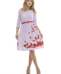 Rochie casual cu curea si imprimeu petale RO130 roz prafuit - Rochii de zi -