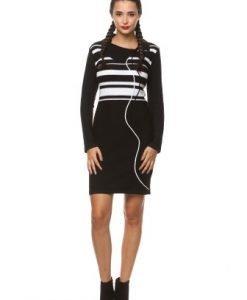 Rochie casual in dungi din tricot IF.456 negru/alb - Rochii de zi -