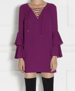 Rochie cocktail mini cu maneci voalate Violet - Imbracaminte - Imbracaminte / Rochii de seara