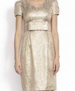 Rochie conica realizata din brocart Auriu - Imbracaminte - Imbracaminte / Rochii de seara