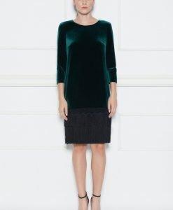 Rochie cu bordura din franjuri si dantela Verde - Imbracaminte - Imbracaminte / Rochii de seara