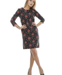 Rochie cu buzunare si imprimeu floral RO126 negru - Rochii de zi -