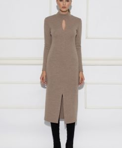 Rochie cu decupaj si maneca lunga Bej - Imbracaminte - Imbracaminte / Rochii de zi