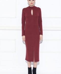 Rochie cu decupaj si maneca lunga Bordo - Imbracaminte - Imbracaminte / Rochii de zi